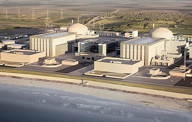 Computer generated image of the two reactors planned for the Hinkley Point C Nuclear Power Station site (image courtesy of EdF Energy)