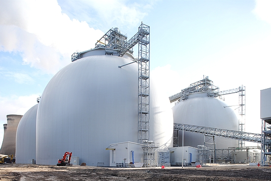 A view of the biomass domes at Drax (courtesy of Drax Group plc)