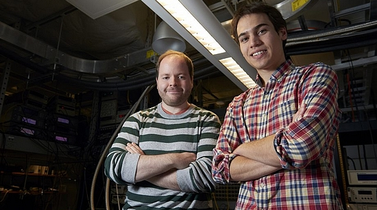 Graduate students Andrew Yeats (left) and Peter Mintun, co-authors of the Science Advances paper (photo: Joel Wintermantle)