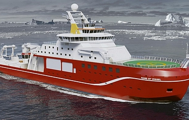Artist's impression of the UK's new polar research ship based upon Rolls-Royce Marine AS design (image courtesy of Cammell Laird)