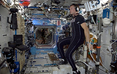 European Space Agency astronaut Andreas Mogensen wearing the SkinSuit on board the International Space Station (photo: European Space Agency)