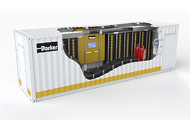 Cutaway of an Energy Grid Tie container, showing the battery racks and Parker inverters
