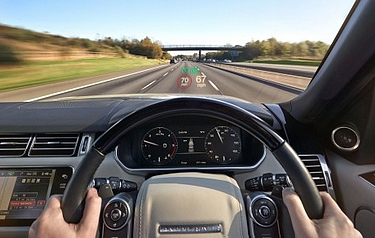 Head-Up Display (HUD) projects key driving information onto a small area of the windscreen (photo: Jaguar Land Rover)