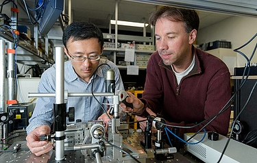 Leo Yu, left, with senior research scientist Carsten Langrock (photo: L A Cicero)