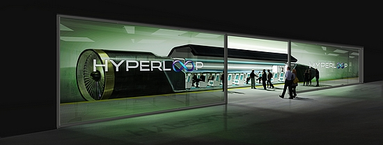 Artist's impression of passengers boarding Hyperloop (courtesy of Hyperloop Technologies Inc.)