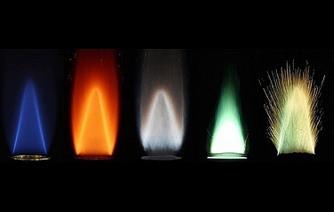 Stabilised flames of different metal powders burning with air, compared to a methane-air flame (far left). From left: methane; iron; aluminium; boron/aluminium; zirconium (image: Alternative Fuels Laboratory/McGill University)