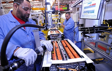 Battery packs being assembled at Ford's Rawsonville Plant in the US (photo courtesy of Ford Motor Company)