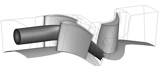 Simulation of the combustion chamber-turbine interaction (image: DLR)