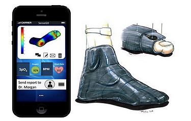 Pressure-sensing socks are paired with smartphones to reduce foot ulcers in diabetic patients (photo: The Hebrew University of Jerusalem)