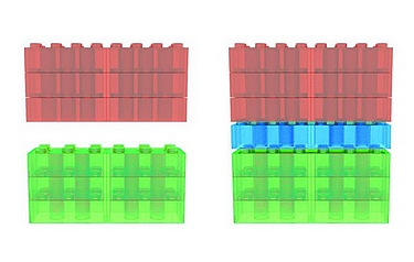 In this analogy, it is possible to construct a flexible block, which will fit with both materials and bridge the gap between them, like the blue block bridging the gap between the red and green ones (image: University of Liverpool)