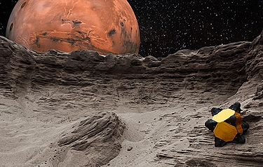 A depiction of Hedgehog on Mars' moon Phobos (illustration: Ben Hockman/Stanford Engineering)