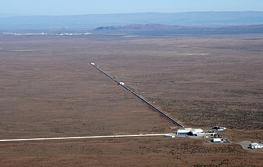 Aerial view of the LIGO detector in Hanaford, Washington. LIGO research is carried out by the LIGO Scientific Collaboration, a group of more than 1,000 international scientists (photo: LIGO Laboratory)