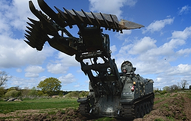 Terrier with its mine plough extended (photo: BAE Systems)