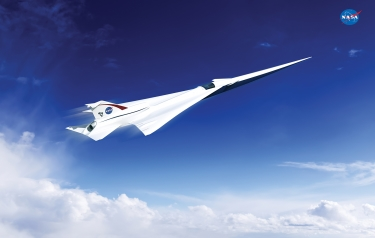 This is an artist's concept of a possible Low Boom Flight Demonstration Quiet Supersonic Transport (QueSST) X-plane design. Credits: Lockheed Martin