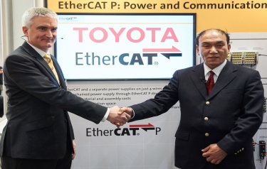 Martin Rostan, Executive Director of the ETG, and Morihiko Ohkura, General Manager of the Production Engineering Innovation Division at the Toyota Motor Corporation during the ETG Press Briefing of the EtherCAT Technology Group at Hannover Messe 2016