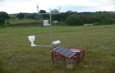 A newly installed weather station at the Salvation Army's College of Biomedical Sciences in Chikankata, Zambia. (Credit: UCAR. Photo by Martin Steinson.)
