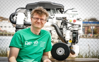 Dr Dennis Doerffel, REAPsystems, with the hybrid engine (Credit: University of Southampton)