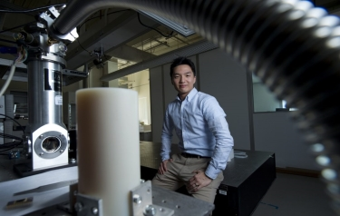 Jaeho Lee's nanomaterials lab features a customised vacuum chamber that allows samples to be heated to enormous temperatures. By doing so, he can determine whether the substances have suitable thermoelectric properties (Credit: Steve Zylius/UCI)