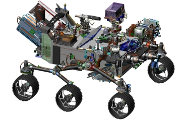 This image is from computer-assisted-design work on the Mars 2020 rover (Credits: NASA/JPL-Caltech)
