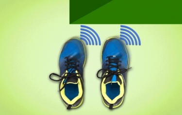 "Researchers are developing a new boot with built-in sensors and tiny ""haptic"" motors, whose vibrations can guide the wearer around or over obstacles. (Credit: Jose-Luis Olivares/MIT)"
