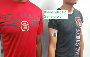 TEG-embedded T-shirt (left) and TEG armband (right) (Credit: NC State)