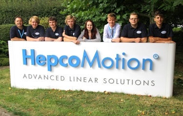 From left to right - Maurice Porter, Group Training Manager and Kai Shinn-Handell, Toby Cowan, Andrew Crew, Jenny Spence, Calum Hutcheon, Steven Anderson and Jake Thompson - Hepco's first year apprentices based at its headquarters.