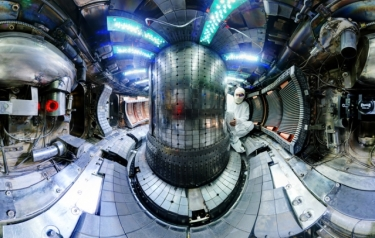 The interior of the fusion experiment Alcator C-Mod at MIT recently broke the plasma pressure record for a magnetic fusion device. (Credit: MIT)