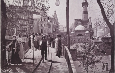 In the Paris world's fair in 1900 the moving sidewalks were a must. (Credit: Brown University)