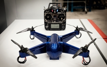 First fully functional quadcopter 3D printed in ULTEMTM 9085 aerospace-grade material with electronics embedded was created in a single production step (Credit: NTU Singapore)