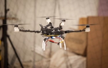 "A four-rotor ""bunnycopter"" developed at MIT's Computer Science and Artificial Intelligence Laboratory features propellers at different heights. (Credit: Jason Dorfman/MIT CSAIL)"