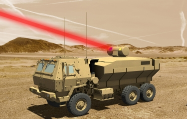 A rendering of a truck mounted 60 kW laser weapon system for tactical U.S. Army vehicles. (Credit: Lockheed Martin)