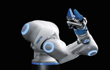 BionicCobot: a pneumatic lightweight robot with human movement patterns as a sensitive helper in human-robot collaboration (Photos: Festo AG & Co. KG)