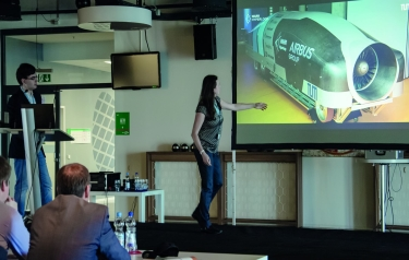 At the CADENAS Industry-Forum the WARR Hyperloop Team presented its prototype of a Hyperloop capsule, which was the fastest at the first contest in January 2017 (Credit: CADENAS)