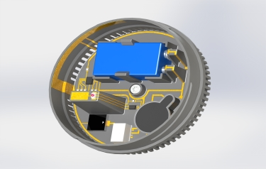 Smoke detector concept based on 3D MID. The battery holder is integrated directly in the moulded part