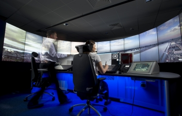 The 14 screens provide controllers with a full 360 degree view of the airfield (Credit: NATs)