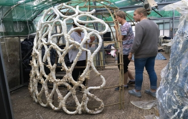 A Brunel University London student has been exploring how mushrooms can be used to grow robust zero-waste structures (Credit: Brunel University London)
