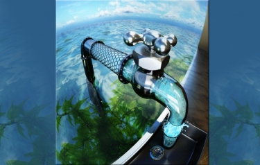 An artist's depiction of the promise of carbon nanotube porins for desalination (Credit: Ryan Chen/LLNL)