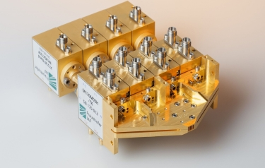 The image shows a functional prototype of a 300 GHz multichannel wireless system for further integration as a system-on-chip. (Credit: Fraunhofer IAF)