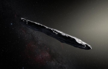 This artist's impression shows the first interstellar asteroid: `Oumuamua. (Credit: ESO/M. Kornmesser)