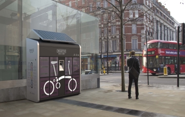 A bespoke enclosure containing folding bicycles made by ICEE for the Brompton Bike Hire network