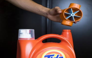 The attachment above can sense when your laundry soap is running low — and automatically order more. (Credit: Mark Stone/University of Washington_