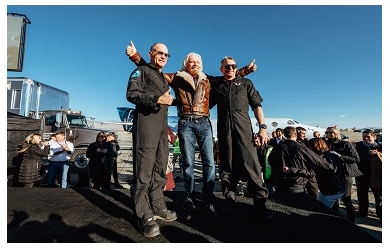 Richard Branson and Virgin Galactic's first two astronauts (Credit: Virgin Galactic/Quasar Media 2018)