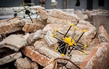 Squishy robots, which can land safely from a 600-foot drop, may help first responders scope out disaster zones without putting human lives at risk. (Credit: Squishy Robotics)