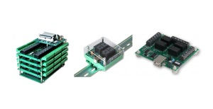 Relay cards can be stacked, mounted on a DIN rail or stand on their own four feet