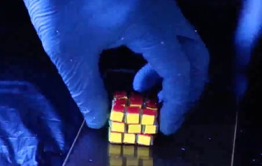 A new Rubik's Cube-like structure made of a self-healing hydrogel might inspire new ways to store information and possibly help patients monitor their medical conditions. (Image courtesy of Xiaofan Ji.)
