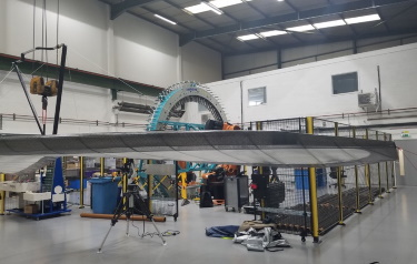 The hang glider is scanned in the AMRC's Composites Centre (Credit: AMRC)
