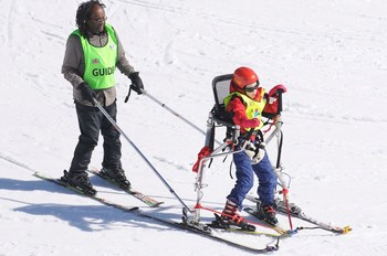 Carl Rodrigues' ski frame as used by Megs Baynham on the Katie's Ski Tracks holiday