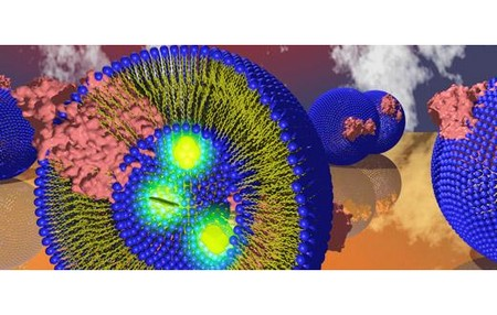 Artistic representation of submicron lipid vesicles filled with fluorescent molecules. The image is reproduced by permission of Lars J C Jeuken and The Royal Society of Chemistry from Soft Matter, 2011, 7, 49-52, DOI: 10.1039/C0SM01016B