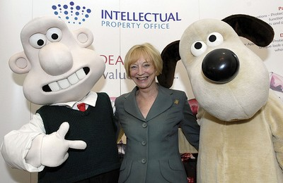 Baroness Wilcox, flanked by Aardman's inventive duo at the launch of the Cracking Ideas competition
