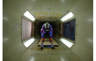 British speed skier Tom Horn in the wind tunnel